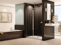 Siena shower shield, semi-frameless in-line pivot shower shield