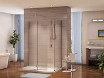 5 and 6 Walk-in Shower System<br /><b>with Shield,</b> 3/8 (10-mm) glass