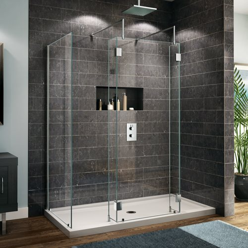 Fleurco glass walk in shower evolution 5ft 6ft 3 sides for 6ft bathroom ideas