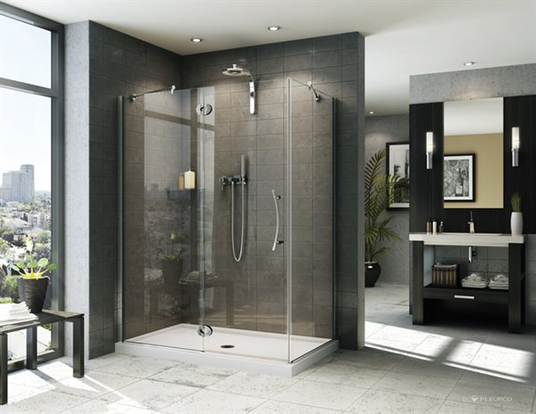 fleurco glass shower doors platinum in line 2 sides. Black Bedroom Furniture Sets. Home Design Ideas