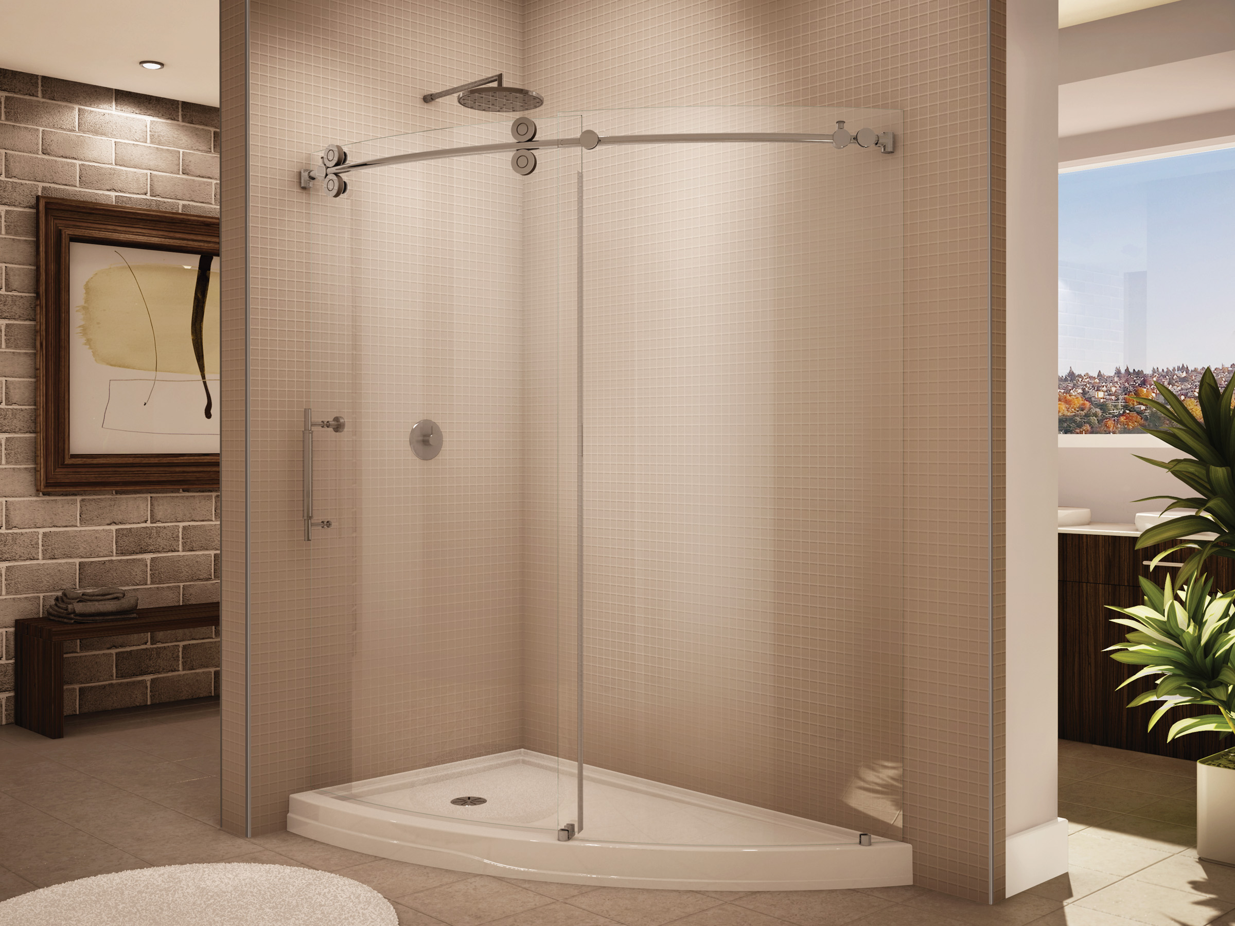 glass semi infinity french doors products basco shower tub frameless inch