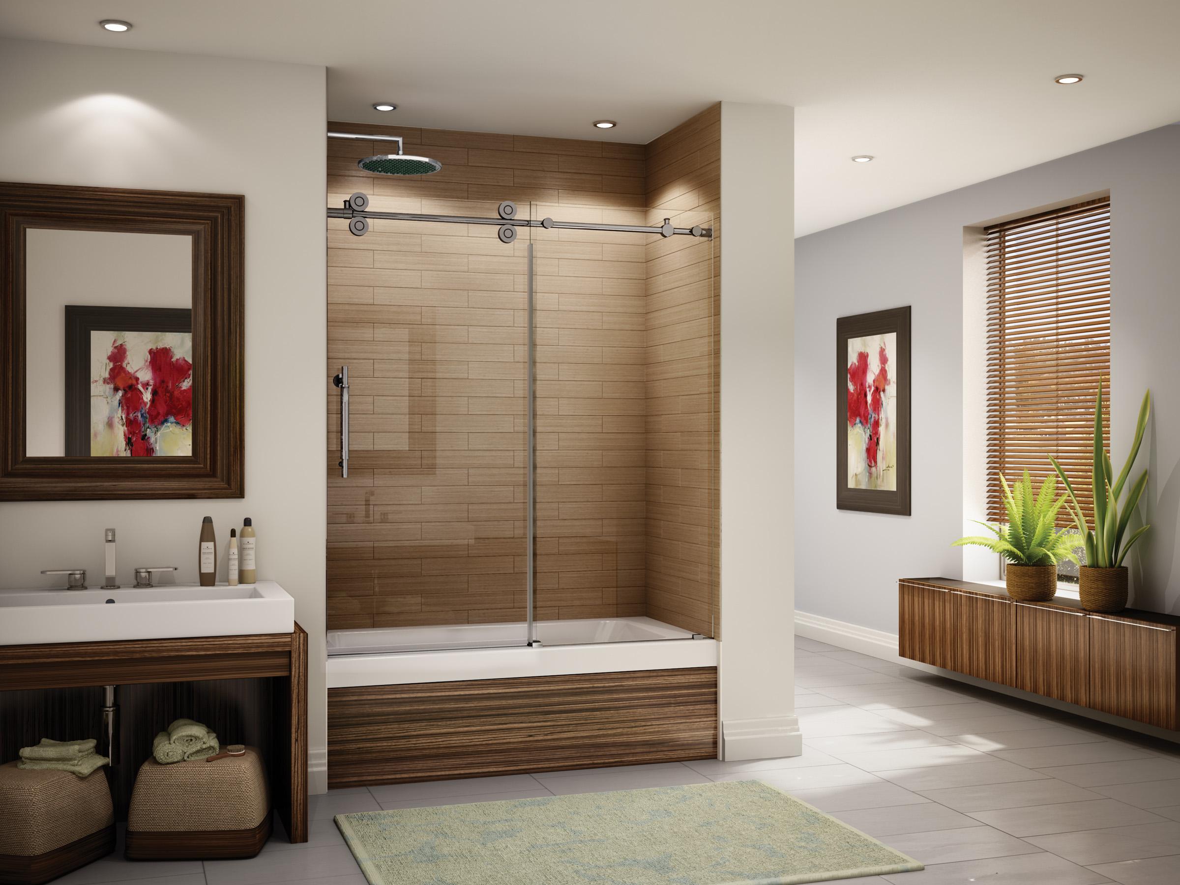 Fleurco portes de douche en verre kinetik kt baignoire for Porte vitree pour baignoire