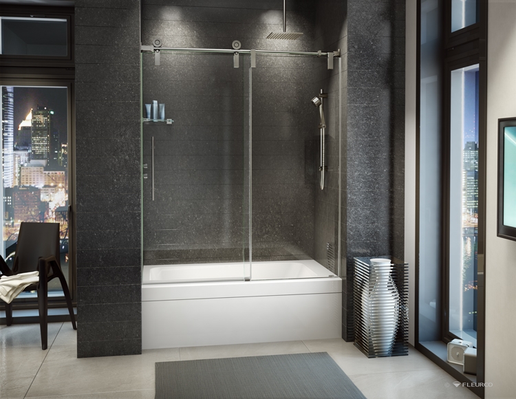 Fleurco glass shower doors kinetik ks in line tub for Salle de bain avec jacuzzi et douche