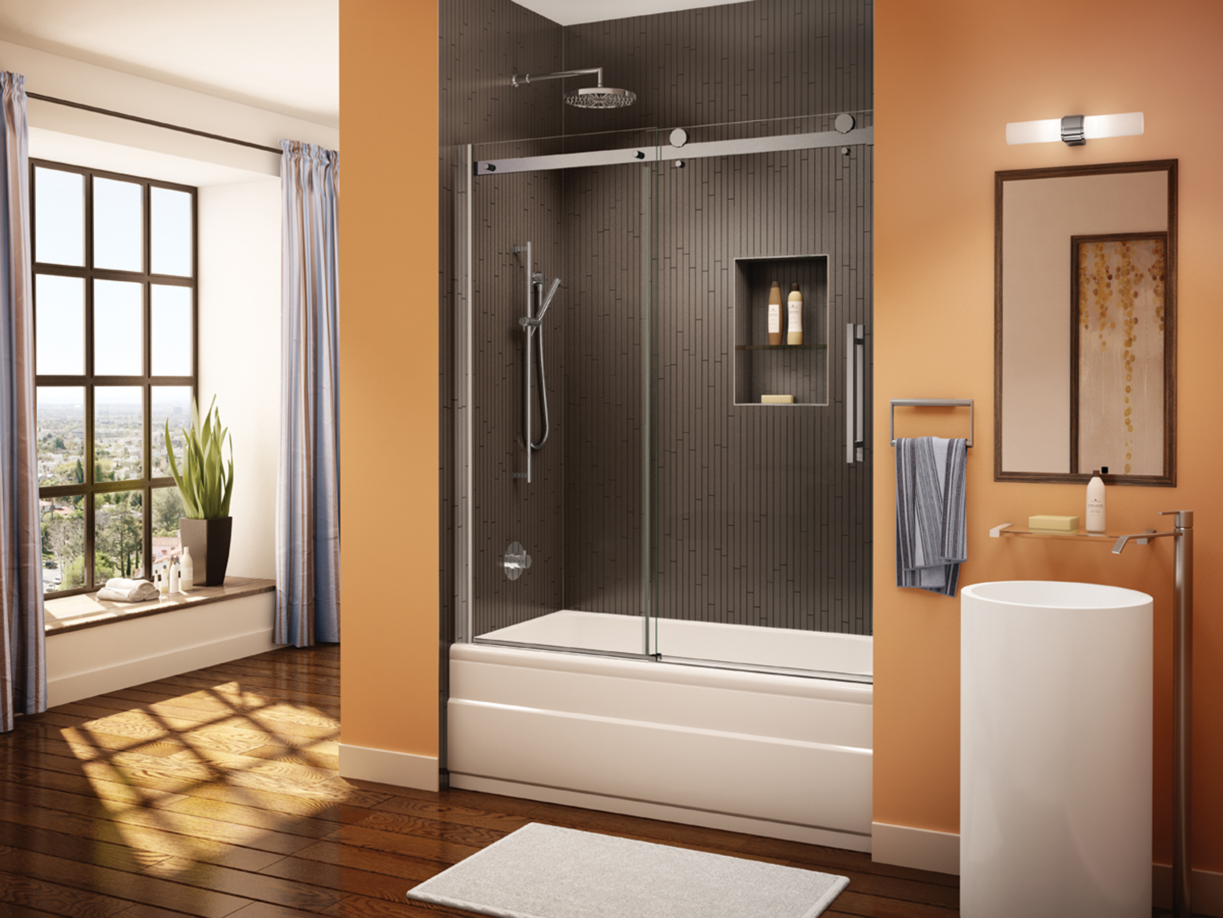Fleurco glass shower doors novara tub enclosure for Ove salle de bain