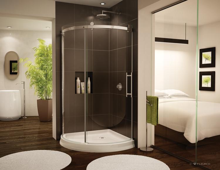 Fleurco glass shower doors novara arc - Douche italienne dans une chambre ...